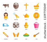set of 16 icons such as sitar ...