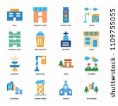 set of 16 icons such as... | Shutterstock .eps vector #1109755055