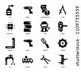 set of 16 icons such as clamp ...