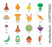 set of 16 icons such as kebab ...
