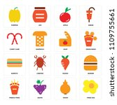 set of 16 icons such as fried... | Shutterstock .eps vector #1109755661