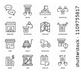 set of 16 icons such as fragile ...