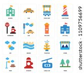 set of 16 icons such as trees ...