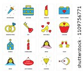 set of 16 icons such as cupid ...
