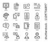 set of 16 icons such as number...