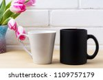 black coffee mug and white... | Shutterstock . vector #1109757179
