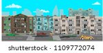 street of the city  destroyed... | Shutterstock .eps vector #1109772074