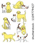set of cat and dog pairs | Shutterstock .eps vector #1109779427
