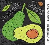 sweet juicy avocado. summer...   Shutterstock .eps vector #1109807501