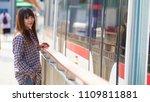 a beautiful girl waiting for... | Shutterstock . vector #1109811881
