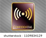 shiny emblem with signal icon ... | Shutterstock .eps vector #1109834129