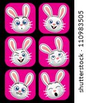 Rabbit face expressions - stock vector