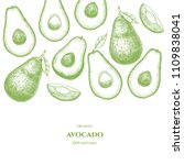 vector frame with avocado. hand ... | Shutterstock .eps vector #1109838041