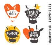 colorful fondue lettering set.... | Shutterstock .eps vector #1109845151