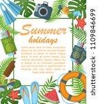 summer holidays flat poster...   Shutterstock .eps vector #1109846699