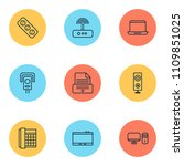 hardware icons set with office... | Shutterstock .eps vector #1109851025