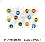 global worldwide communication... | Shutterstock .eps vector #1109859014