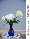 beautiful white roses in blue... | Shutterstock . vector #1109860031