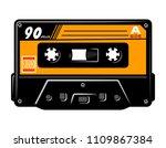 vintage colorful audio casette... | Shutterstock .eps vector #1109867384
