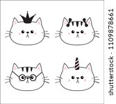 linear cat head face silhouette ... | Shutterstock .eps vector #1109878661