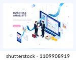 Investment and virtual finance. Communication and contemporary marketing. Future and office devices working on investments. Infographic for web banner, hero images. Flat isometric vector illustration. | Shutterstock vector #1109908919
