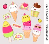 set of cute ice cream icons in... | Shutterstock .eps vector #1109914754