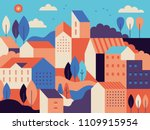 Stock vector vector illustration in simple minimal geometric flat style city landscape with buildings hills 1109915954