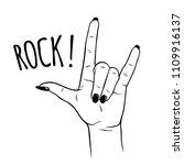 hand drawn female hand in rock... | Shutterstock .eps vector #1109916137