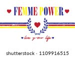 colorful femme power slogan...