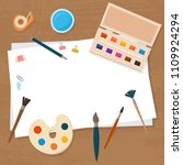 art tools and materials for... | Shutterstock .eps vector #1109924294