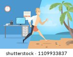 from work to vacation.... | Shutterstock .eps vector #1109933837