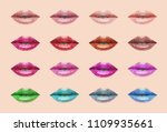 colorful lips collection. mouth ... | Shutterstock .eps vector #1109935661