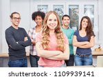 young woman as apprentice or... | Shutterstock . vector #1109939141