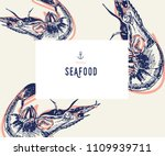 seafood banner set. hand drawn... | Shutterstock .eps vector #1109939711