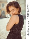 fashionable brunette girl...   Shutterstock . vector #1109940731