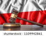 wooden gavel and flag of poland ... | Shutterstock . vector #1109942861