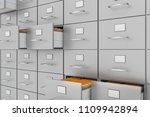 filing cabinet with yellow... | Shutterstock . vector #1109942894