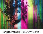 beautiful young woman  with... | Shutterstock . vector #1109943545
