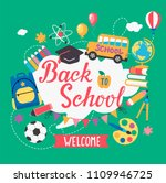 banner welcome back to school... | Shutterstock .eps vector #1109946725