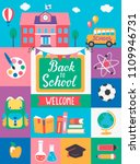 welcome back to school with... | Shutterstock .eps vector #1109946731