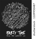 party doodle illustration... | Shutterstock .eps vector #1109950487