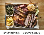 texas bbq style tray with... | Shutterstock . vector #1109953871