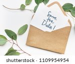 phrase save the date in plants... | Shutterstock . vector #1109954954