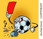 red card referee whistle.... | Shutterstock .eps vector #1109958329