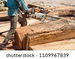 man woodcutter cutting wood... | Shutterstock . vector #1109967839