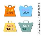 shopping bag icons set. flat... | Shutterstock .eps vector #1109970221