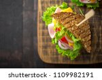 breakfast sandwich with salad ... | Shutterstock . vector #1109982191