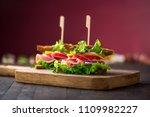 breakfast sandwich with salad ... | Shutterstock . vector #1109982227
