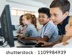 multiethnic school kids using... | Shutterstock . vector #1109984939