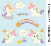 set of cute sticker with... | Shutterstock .eps vector #1109985071